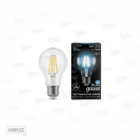 GAUSS LED ELEMENTARY FILAMENT A60 лампа 8W E27 4100K